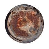 Vieja placa de metal redonda oxidada Fotos de archivo