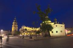 Vieja plaza del mercado de la tubería de la ciudad de Kraków Foto de archivo libre de regalías