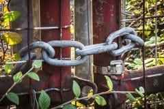 Vieja puerta aherrumbrada cerrada con una cadena foto de archivo libre de regalías