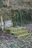 Vieja puerta de jardín oxidada, puerta, con una escalera de piedra en el jardín Foto de archivo libre de regalías