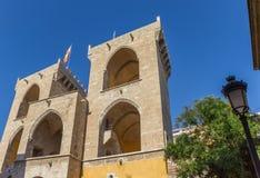 Vieja puerta Torres de Quart de la ciudad en Valencia Foto de archivo libre de regalías
