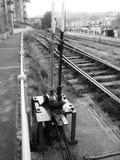 Vieja punta ferroviaria de la señal Fotografía de archivo