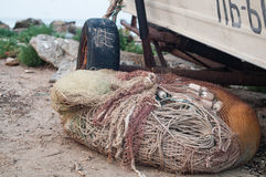 Vieja red de pesca fotografía de archivo libre de regalías