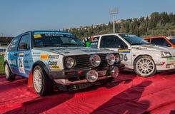 Vieja reunión del coche de competición de VOLKSWAGEN GOLF GTI 16V 1987 LA LEYENDA 2017 la raza histórica MERINA famosa del SAN Fotografía de archivo libre de regalías