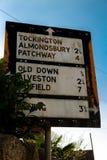 Vieja señal de tráfico de Pre-worboys en Reino Unido Foto de archivo libre de regalías