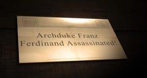 Vieja serie del texto del telegrama de la sepia - archiduque Franz Ferdinand Assassinated almacen de video