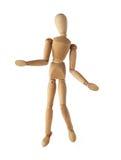 Vieja sorpresa simulada de madera del maniquí o actuación sospechada aislado Fotografía de archivo