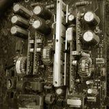 Vieja tarjeta de circuitos electrónicos Foto de archivo libre de regalías