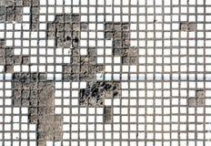 Vieja textura blanca agrietada de la pared del mosaico Foto de archivo