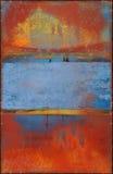 Vieja textura colorida con Rusty Seams Along Edges foto de archivo