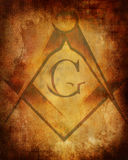 Vieja textura de papel con la muestra del freemason Imagen de archivo libre de regalías