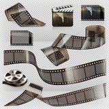 Vieja tira de la película con la transparencia, sistema del icono del vector Imagen de archivo libre de regalías