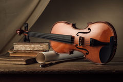 Vieja todavía del violín vida con los libros Fotografía de archivo