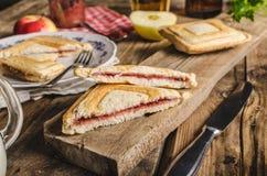 Vieja tostada bohemia con el atasco y la cerveza Imágenes de archivo libres de regalías