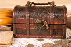 Viejas cartas con varias cosas Imagen de archivo libre de regalías
