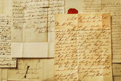 Viejas cartas, cursivo elegante Imagen de archivo