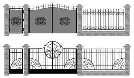Viejas cercas y puertas de la calle libre illustration