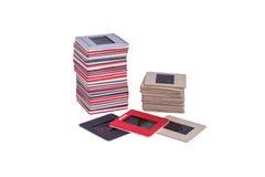 Viejas diapositivas de película montadas 35 milímetros Fotos de archivo libres de regalías