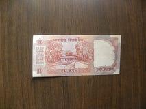 Viejas diez rupias de nota de la India fotos de archivo