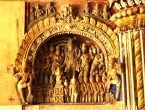 Viejas esculturas en el pasillo dharbar del pasillo del ministerio del palacio del maratha del thanjavur Imagen de archivo libre de regalías