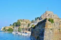Viejas imágenes de la fortaleza de Corfú - castillo de Corfú Imagen de archivo