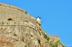 Viejas imágenes de la fortaleza de Corfú - castillo de Corfú Imágenes de archivo libres de regalías