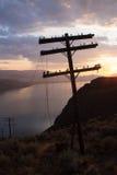 Viejas líneas eléctricas Imagen de archivo libre de regalías