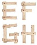 Viejas letras de madera del alfabeto hechas de los tablones de madera imágenes de archivo libres de regalías