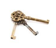 Viejas llaves decorativas del metal aisladas Fotografía de archivo libre de regalías