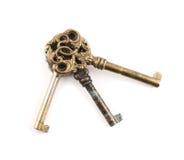 Viejas llaves decorativas del metal aisladas Imagen de archivo libre de regalías