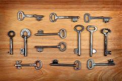Viejas llaves fijadas Fotos de archivo libres de regalías