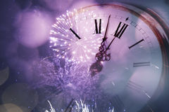 Viejas luces del reloj y del día de fiesta Imagenes de archivo