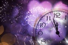 Viejas luces del reloj y del día de fiesta Fotografía de archivo libre de regalías
