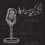 Viejas notas del micrófono y de la música, Imagenes de archivo