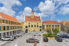 Viejas opiniones de Punda Curaçao de la iglesia del fuerte Imágenes de archivo libres de regalías
