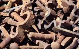 Viejas piezas oxidadas del ferrocarril Imagen de archivo