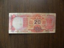 Viejas 20 rupias de nota fotografía de archivo libre de regalías