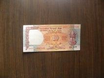 Viejas 10 rupias de nota de la India fotografía de archivo