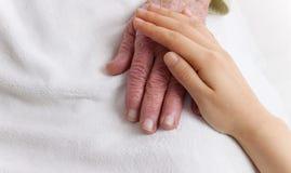 Viejas y jovenes manos en la manta blanca Fotos de archivo libres de regalías
