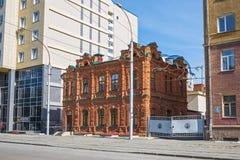 Viejo año de la casa del ladrillo de la construcción 1900, calle Michurina ningún Fotos de archivo libres de regalías