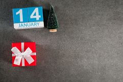 Viejo Año Nuevo 14 de enero Día de la imagen 14 de mes de enero, calendario con el regalo de Navidad y árbol de navidad Fondo con Imagenes de archivo