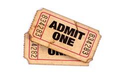 Viejo admita que los boletos usados rasgados uno aislaron el fondo blanco imágenes de archivo libres de regalías