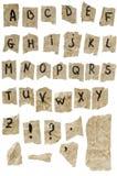 Viejo alfabeto de papel Foto de archivo libre de regalías