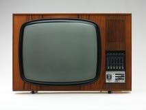 Viejo aparato de TV en el fondo blanco imagenes de archivo