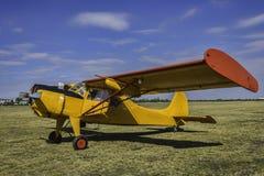 Viejo avión del amarillo del vintage en la hierba Fotos de archivo libres de regalías