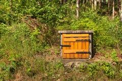 Viejo bien en el bosque Fuente del agua potable Nueva puerta Imagen de archivo
