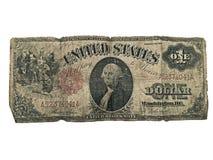 Viejo billete de dólar de la moneda Fotos de archivo