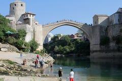Viejo brigde - Mostar Imagen de archivo libre de regalías