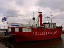 Viejo buque faro rojo Imagen de archivo