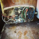 Viejo cableado del teléfono fotografía de archivo